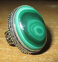 """Овальное кольцо """"Большой овал"""" с натуральным малахитом, размер 19 от студии LadyStyle.Biz, фото 1"""