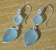 """Элегантные серьги  с голубым халцедоном  """"Дождик"""", от студии LadyStyle.Biz, фото 1"""