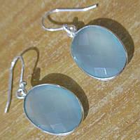 """Красивые серьги  с голубым халцедоном  """"Овал"""", от студии LadyStyle.Biz, фото 1"""