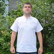 Белое на белом мужская вышиванка с коротким рукавом