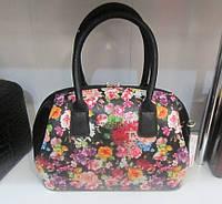 Каркасная женская сумка с цветами