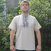 Льняная вышиванка с коротким рукавом