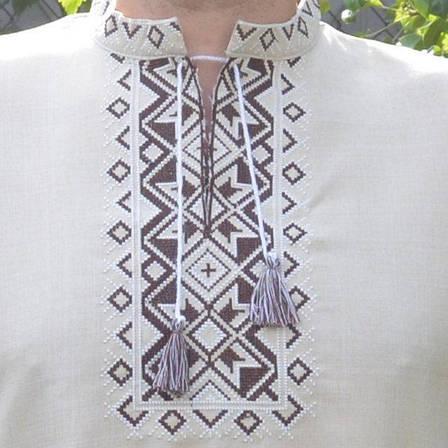 Лляна вишиванка з коротким рукавом, фото 2