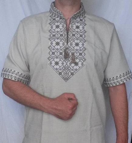 Стильная льняная вышиванка мужская, фото 2