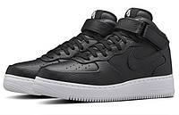 Кроссовки женские NikeLab Air Force 1 Mid CMFT Black (найк аир форс, найк форс) чёрные высокие