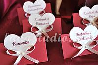 Карточки для рассадки гостей за свадебным столом, цвет бордовый (марсала)