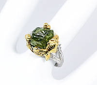 """Элегантный перстень """"Золотая рыбка """" с зеленым сапфиром , размер 17,6 от студии LadyStyle.Biz, фото 1"""