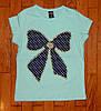 Детская футболка для девочки Бантик бирюза 7-8 лет