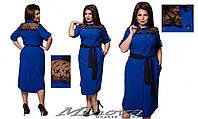 Элегантное платье-рубашка с вставками из кружева