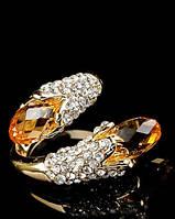Нарядное кольцо с желтыми кристаллами от Студии  www.LadyStyle.Biz, фото 1
