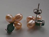 Необычные серьги с нефритом и натуральным жемчугом от Студии LadyStyle.Biz, фото 1
