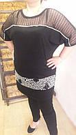 Туника - блуза  Камни, 52-64рр, пр- во Турция, большие размеры, черный