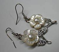 Серьги с перламутром белый цветок LadyStyle.Biz, фото 1