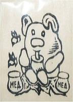 """Заготовка """"Мишка с медом"""" на магните с контурами рисунка, бук, 6"""