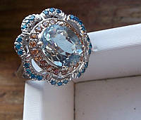 Необычный  перстень с аквамарином, апатитами  и золотистыми сапфирами , размер 16,5 от студии LadyStyle.Biz, фото 1
