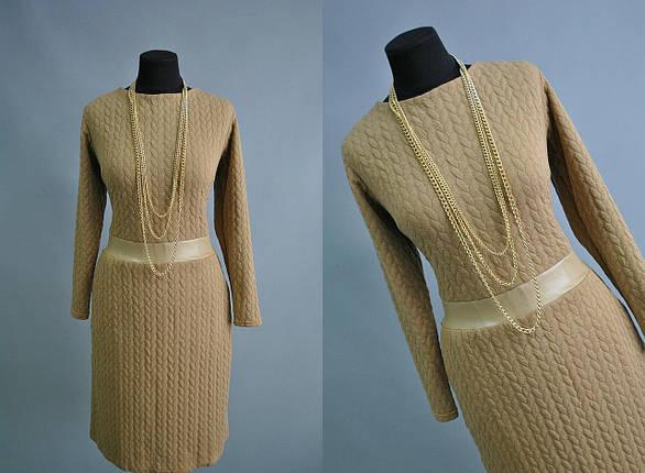 Красивое женское платье с поясом из Экокожи батал, фото 2