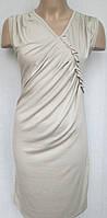 Стильное платье цвета крем с драпировкой.Италия