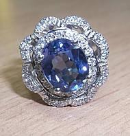 """Элегантное кольцо """"Лотос"""" со шпинелью, меняющей цвет и белыми сапфирами , размер 16,6 студия LadyStyle.Biz"""