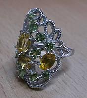 """Шикарный перстень с перидотами и цитринами """"Шик"""", размер 17,5  от студии LadyStyle.Biz"""