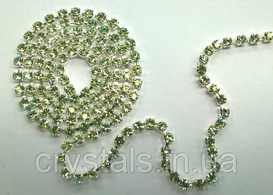 Стразовая цепь Preciosa (Чехия) ss12 Chrysolite/серебро