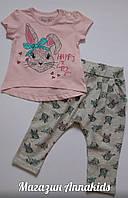 "Костюм на девочку ""Зайка"" футболка+капри  BREEZE,  74-98 см."