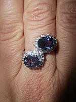 """Игривое кольцо """"Поцелуйчик"""" со шпинелью, меняющей цвет и белыми сапфирами , размер 16,5 студия LadyStyle.Biz, фото 1"""