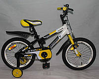 "Велосипед двухколёсный Azimut Stitch А 16"" дюймов желтый***"