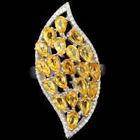 """Потрясающий серебряный перстень с цитринами """"Царская печать"""", размер 18,7 от студии LadyStyle.Biz, фото 1"""
