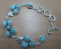"""Необычный серебряный браслет """"Виноградинка"""" с натуральными  ларимарами от студии LadyStyle.Biz, фото 1"""