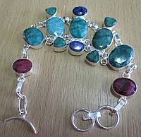"Широкий браслет ""Удача"" с  яркими изумрудами, сапфирами и рубинами  от студии LadyStyle.Biz, фото 1"