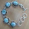 """Хорошенький серебряный браслет с натуральными  ларимарами """"Лилия"""" от студии LadyStyle.Biz"""