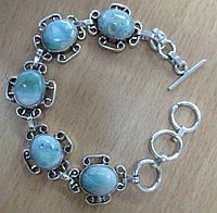 """Хорошенький серебряный браслет с натуральными  ларимарами """"Лилия"""" от студии LadyStyle.Biz, фото 1"""