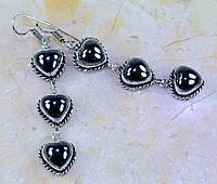"""Миленькие  серьги с гематитами  """"Сердечки"""" от LadyStyle.Biz, фото 1"""