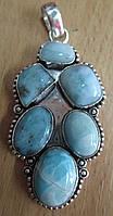 """Необычный серебряный кулон """"Зодиак"""" с ларимаром  от студии LadyStyle.Biz, фото 1"""
