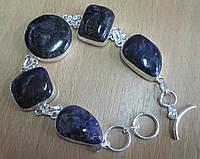 """Элегантный серебряный браслет """"Карусель"""" с натуральным чароитом    от студии LadyStyle.Biz, фото 1"""