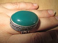 """Овальное кольцо """"Зеленый луг"""" с натуральным хризопразом, размер 17,6 от студии LadyStyle.Biz"""