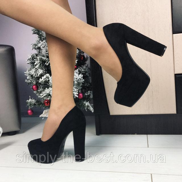 """Черный туфли на широком,толстом каблуке под рептилию - интернет-магазин обуви  """"Симпли"""" в Киеве"""