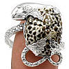 """Серебряный перстень  с черным океаническим кораллом """"Мудрая змея"""", размер 19,5 от студии  LadyStyle.Biz"""
