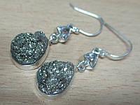 """Серебряные серьги с пиритом и херкимерским алмазом """"Алмазная капля""""  от студии LadyStyle.Biz, фото 1"""