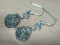 """Серебряные серьги с пиритом и херкимерским алмазом """"Алмазная капля""""  от студии LadyStyle.Biz"""