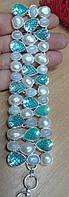 """Яркий браслет-манжет  """"Лето"""" с лунным камнем и жемчугом,  от студии LadyStyle.Biz, фото 1"""