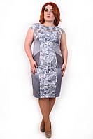 Красивое платье размера плюс Ажур серый (48-54)