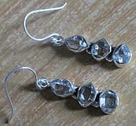 Серебряные серьги с херкимерскими алмазами    от студии LadyStyle.Biz