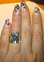 """Серебряный перстень с натуральным апатитом """"Роза"""", размер 17 от студии  LadyStyle.Biz"""