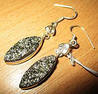 """Серебряные серьги с пиритом и херкимерским алмазом """"Падишах""""  от студии LadyStyle.Biz, фото 1"""