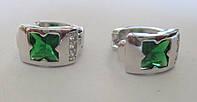 """Элегантные серьги-кольца с зелеными и белыми фианитом """"Клевер"""" от студии LadyStyle.Biz, фото 1"""