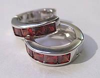 """Яркие серьги-кольца с красным фианитом """"Рубиновые"""" от студии LadyStyle.Biz, фото 1"""