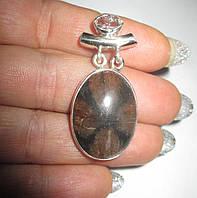 """Элегантный серебряный кулон с хиастолитом (андалузитом) и хелкимерским алмазо """"Овал"""" , от студии LadyStyle.Biz, фото 1"""