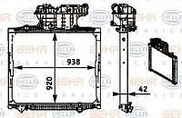 Радиатор охлаждения двигателя HELLA BEHR основной для тягача MAN TGA 8MK376721681