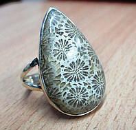 """Серебряный перстень  с желтым океаническим кораллом """"Капля"""", размер 19,7 от студии  LadyStyle.Biz, фото 1"""